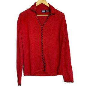 Vintage red sweater with black laces EUC XL
